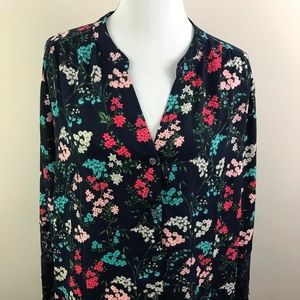 NEW Charter Club Blue Floral Blouse Lace 3X